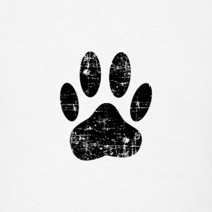 Distressed Black Dog Paw Print - Men's T-Shirt