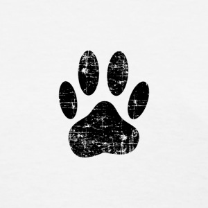 Distressed Black Dog Paw Print - Women's T-Shirt