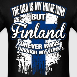 The USA Is My Home Now But Finland Forever Runs - Men's T-Shirt