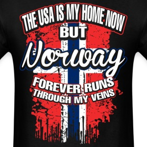The USA Is My Home Now But Norway Forever Runs - Men's T-Shirt