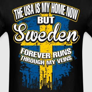 The USA Is My Home Now But Sweden Forever Runs - Men's T-Shirt