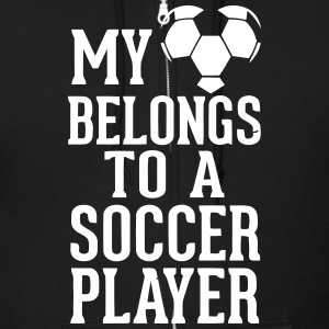 MY HEART BELONGS TO A SOCCER PLAYER Zip Hoodies & Jackets - Men's Zip Hoodie