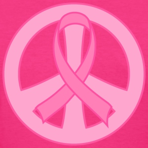 Breast Cancer Ribbon peace sign Women's T-Shirts - Women's T-Shirt