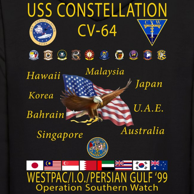 USS CONSTELLATION CV-64 WESTPAC/I.O./PERSIAN GULF CRUISE 1999 HOODIE