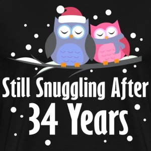 34th Anniversary Owl Couple T-Shirts - Men's Premium T-Shirt
