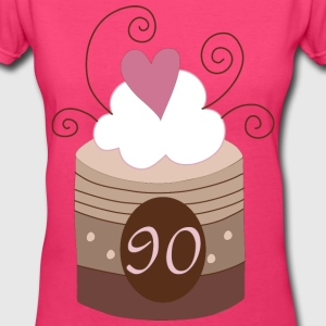 90th Birthday Cupcake Women's T-Shirts - Women's V-Neck T-Shirt