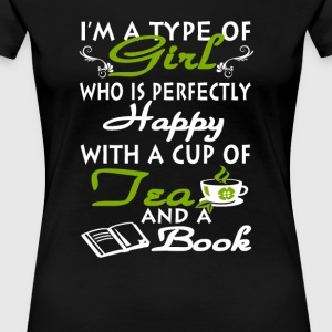 Girl with a cup of tea and a book - Women's Premium T-Shirt