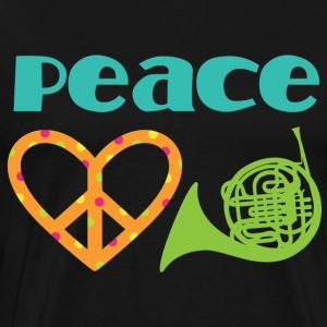 Peace Love French Horn Music T-Shirts - Men's Premium T-Shirt