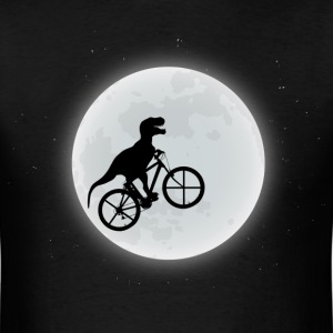 Dinosaur Riding A Bike To The Moon T-Shirts - Men's T-Shirt