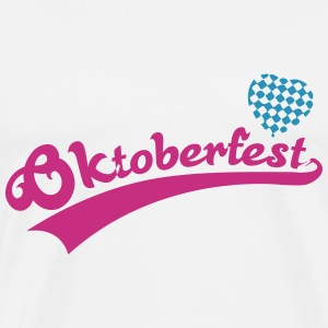 Oktoberfest with Blue White Bavaria Heart T-Shirts - Men's Premium T-Shirt