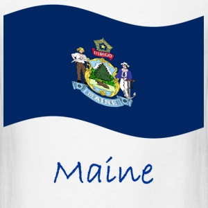Waving Maine Flag And Name T-Shirts - Men's T-Shirt