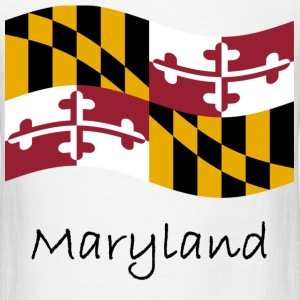 Waving Maryland Flag And Name T-Shirts - Men's T-Shirt