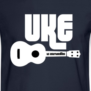 UKE with white Ukulele Long Sleeve Shirts - Men's Long Sleeve T-Shirt