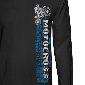 Motocross Side Panel Blue Long Sleeve Shirts - Men's Long Sleeve T-Shirt