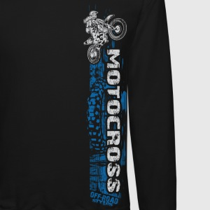 Motocross Side Panel Blue Long Sleeve Shirts - Crewneck Sweatshirt