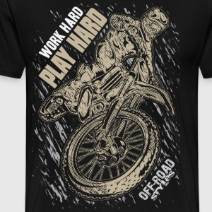 Motocross Play Hard Grey T-Shirts - Men's Premium T-Shirt