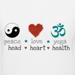 peace love yoga Women's T-Shirts - Women's V-Neck T-Shirt