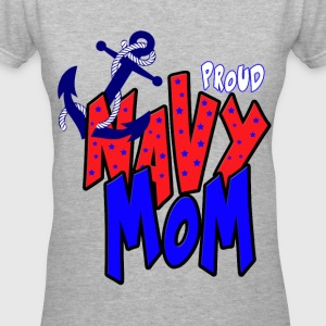 Proud navy Mom Women's T-Shirts - Women's V-Neck T-Shirt