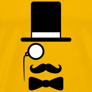 Gentleman mustache monocle beard cylindrical glass T-Shirts - Men's Premium T-Shirt