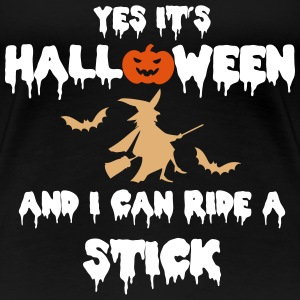 Halloween Witch and Stick Women's T-Shirts - Women's Premium T-Shirt