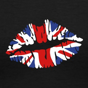 England flag lips Women's T-Shirts - Women's V-Neck T-Shirt