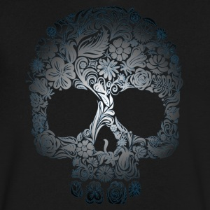 Floral Skull T-Shirts - Men's V-Neck T-Shirt by Canvas