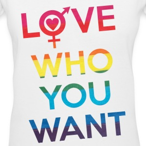 Love Who You Want LGBT Pride Women's T-Shirts - Women's V-Neck T-Shirt