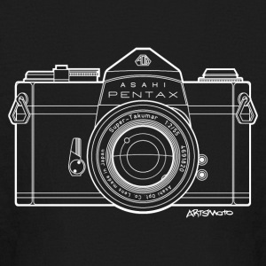Asahi Pentax 35mm Vintage Camera Line Art (White) Kids' Shirts - Kids' Long Sleeve T-Shirt
