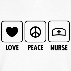 Love - Peace - Nurse T-Shirts - Men's V-Neck T-Shirt by Canvas