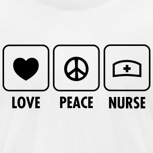 Love - Peace - Nurse T-Shirts - Men's T-Shirt by American Apparel