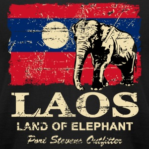 Elephant Laos Flag - Vintage Look T-Shirts - Men's T-Shirt by American Apparel
