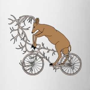 Deer Riding His Antler Bike  Mugs & Drinkware - Coffee/Tea Mug