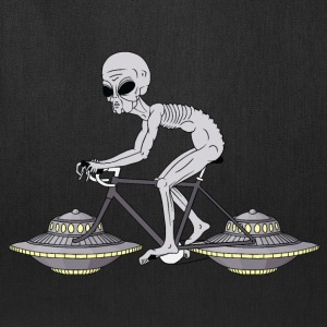 Grey Alien Riding Bike With UFO Wheels Bags & backpacks - Tote Bag