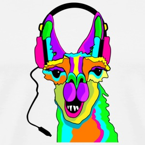 Funny Lama wearing Headphones - Men's Premium T-Shirt