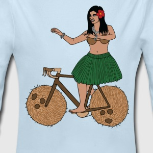 Hula Dancer Riding Bike With Coconut Wheels Baby Bodysuits - Long Sleeve Baby Bodysuit