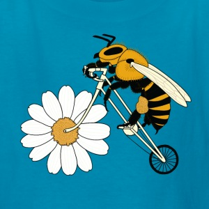 Bee Riding Bike With Flower Wheel Kids' Shirts - Kids' T-Shirt