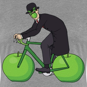 Son Of Man Riding Bike With Apple Wheels Women's T-Shirts - Women's Premium T-Shirt