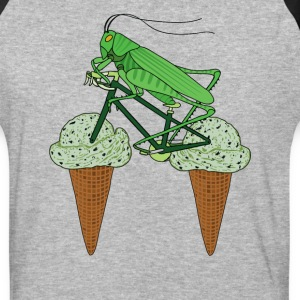 Grasshopper Riding Bike With Grasshopper ice cream T-Shirts - Baseball T-Shirt