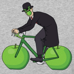 Son Of Man Riding Bike With Apple Wheels T-Shirts - Baseball T-Shirt