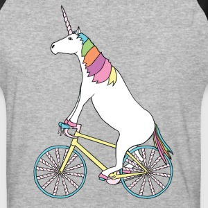 Unicorn Riding Bike With Unicorn Horn Spoked Wheel T-Shirts - Baseball T-Shirt