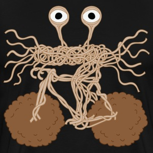 Flying Spaghetti Monster On Bike/ Meatball Wheels T-Shirts - Men's Premium T-Shirt