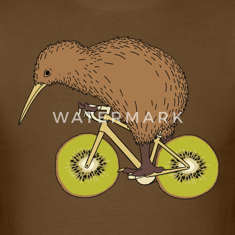 Kiwi Riding Bike With Kiwi Wheels T-Shirts - Men's T-Shirt