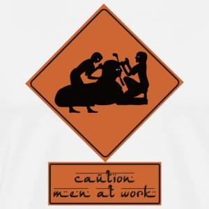 Caution Men at Work - Men's Premium T-Shirt