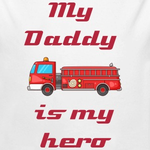 My daddy is my hero- fire - Long Sleeve Baby Bodysuit