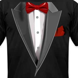 Tuxedo Tie Designs Tux red T-Shirts - Men's T-Shirt by American Apparel