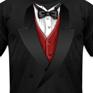 Tuxedo Tie Designs red vest T-Shirts - Men's T-Shirt by American Apparel