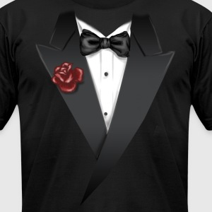 Tuxedo Tie Designs tux black T-Shirts - Men's T-Shirt by American Apparel