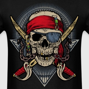 Skull pirate double saber red halloween rahmenlos T-Shirts - Men's T-Shirt