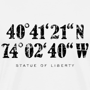 Statue of Liberty Coordinates T-Shirt (Men/White) - Men's Premium T-Shirt
