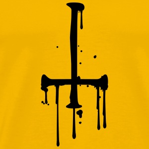 blood drop cross inverted Satanic Satanist T-Shirts - Men's Premium T-Shirt